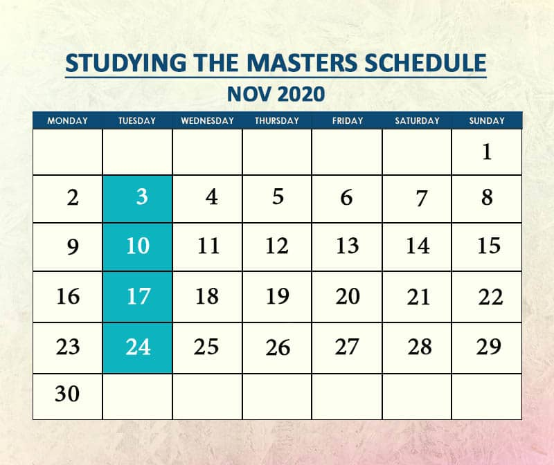 Studying the Masters Nov 2020