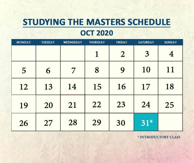Studying the Masters Oct 2020