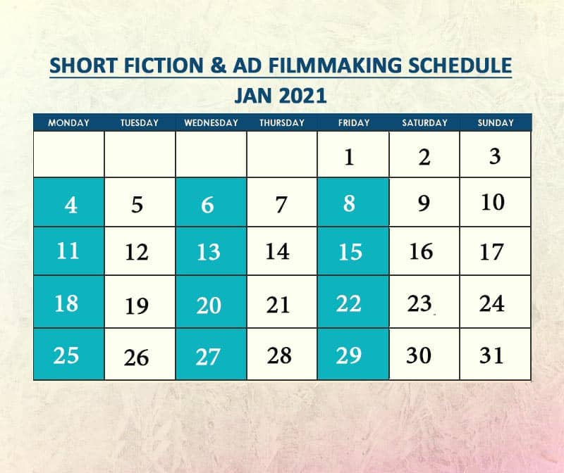 Short Fiction & Ad Filmmaking Jan 2021