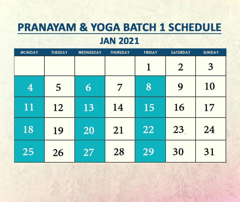 Yoga Batch 1 Jan 2021