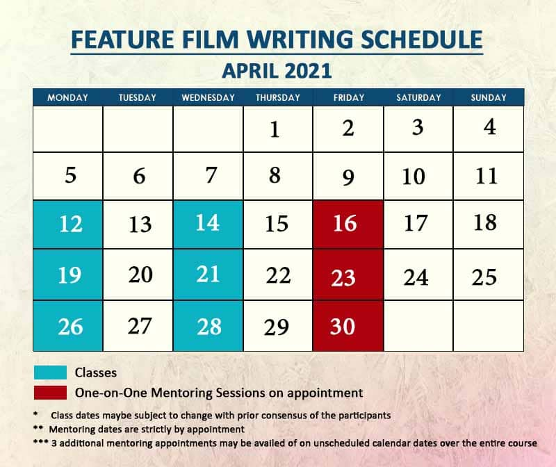 Feature Film Writing April 2021