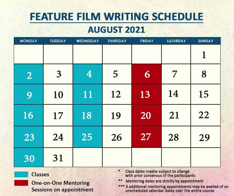 Feature Film Writing August 2021