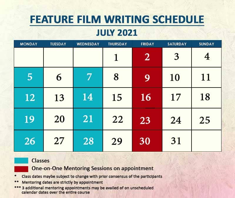 Feature Film Writing July 2021