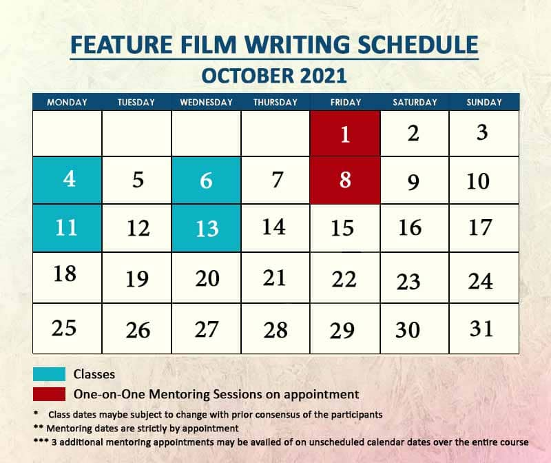 Feature Film Writing October 2021