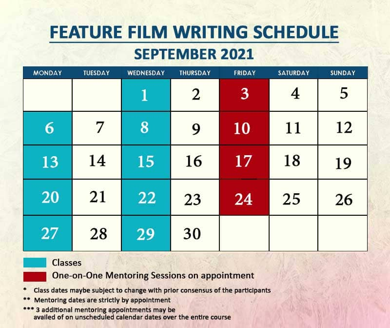 Feature Film Writing September 2021