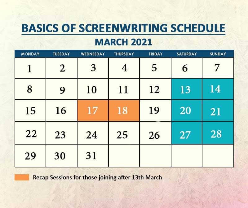 Basics of ScreenWriting Batch 2 March 2021